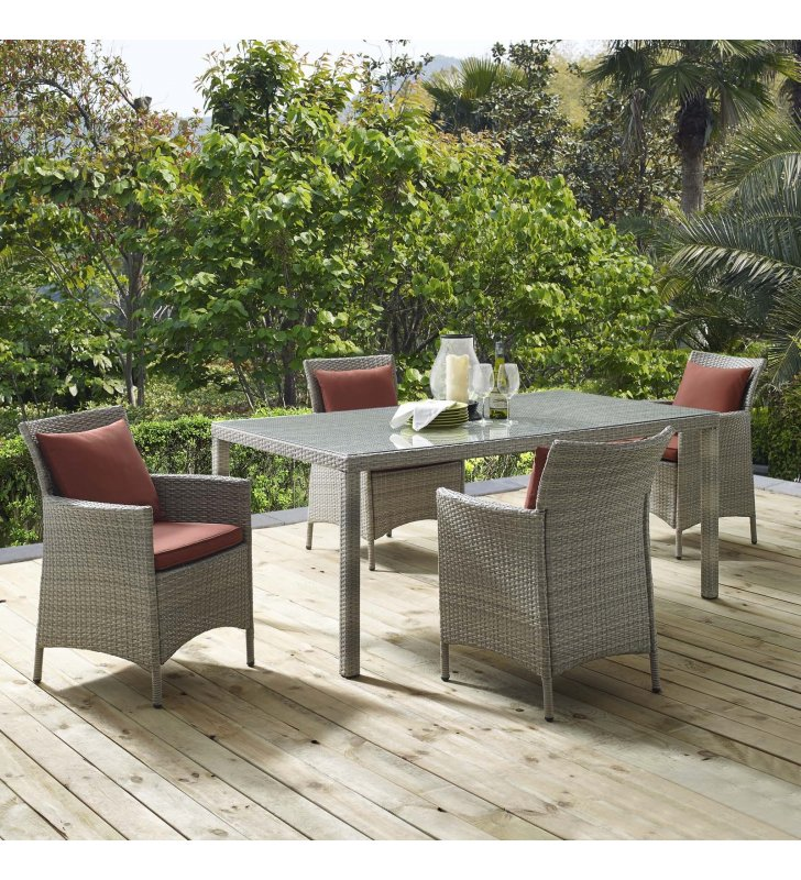 Conduit 5 Piece Outdoor Patio Wicker Rattan Dining Set in Light Gray Currant - Lexmod
