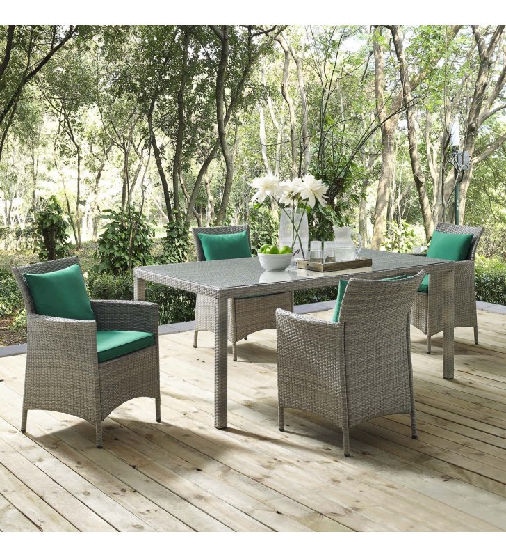 Conduit 5 Piece Outdoor Patio Wicker Rattan Dining Set in Light Gray Green - Lexmod