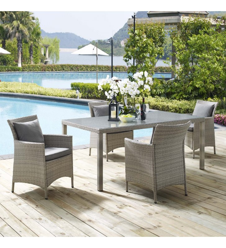 Conduit 5 Piece Outdoor Patio Wicker Rattan Dining Set in Light Gray Gray - Lexmod