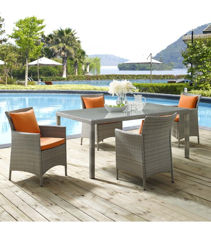 Conduit 5 Piece Outdoor Patio Wicker Rattan Dining Set in Light Gray Orange - Lexmod