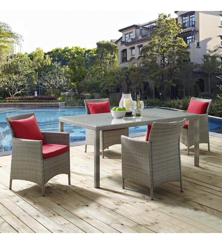Conduit 5 Piece Outdoor Patio Wicker Rattan Dining Set in Light Gray Red - Lexmod
