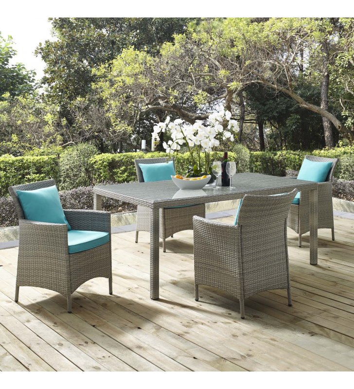 Conduit 5 Piece Outdoor Patio Wicker Rattan Dining Set in Light Gray Turquoise - Lexmod