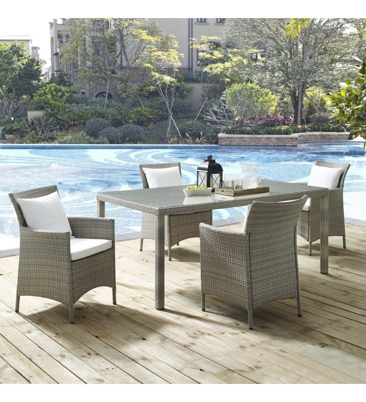 Conduit 5 Piece Outdoor Patio Wicker Rattan Dining Set in Light Gray White - Lexmod