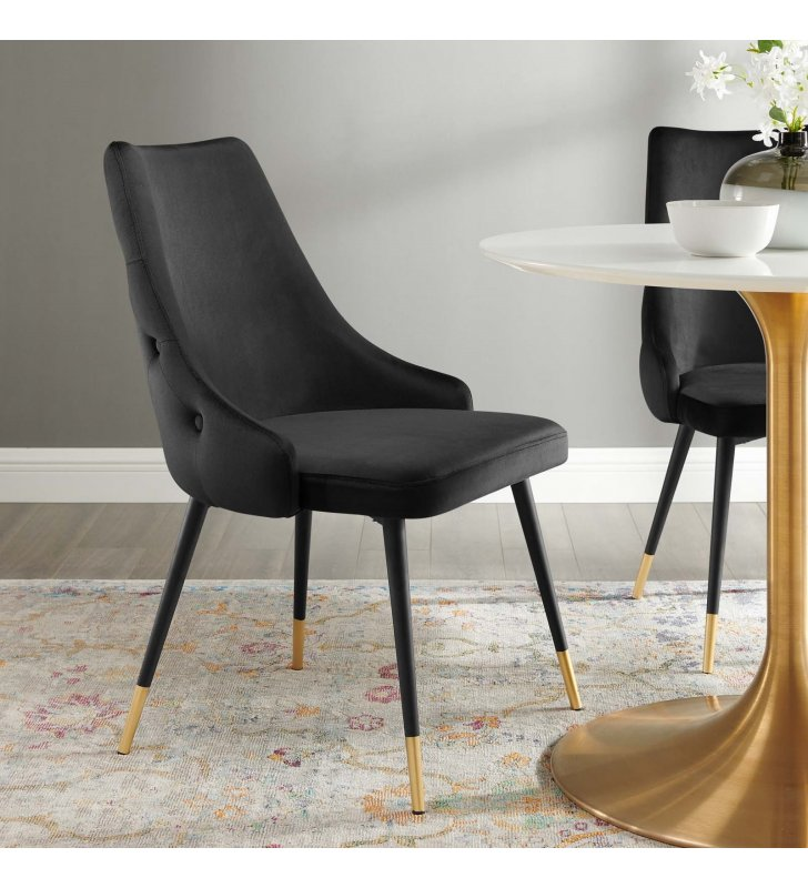Adorn Tufted Performance Velvet Dining Side Chair in Black - Lexmod