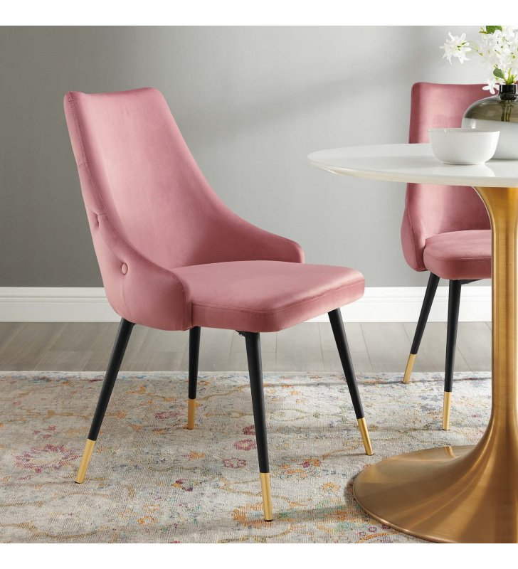 Adorn Tufted Performance Velvet Dining Side Chair in Dusty Rose - Lexmod