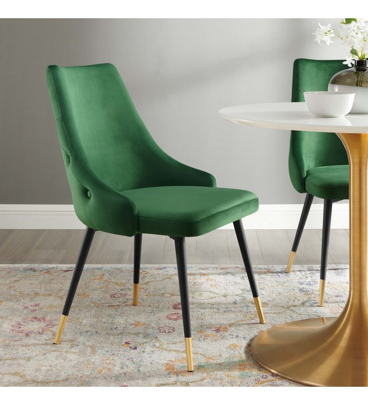 Adorn Tufted Performance Velvet Dining Side Chair in Emerald - Lexmod