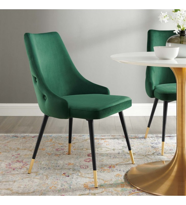 Adorn Tufted Performance Velvet Dining Side Chair in Green - Lexmod