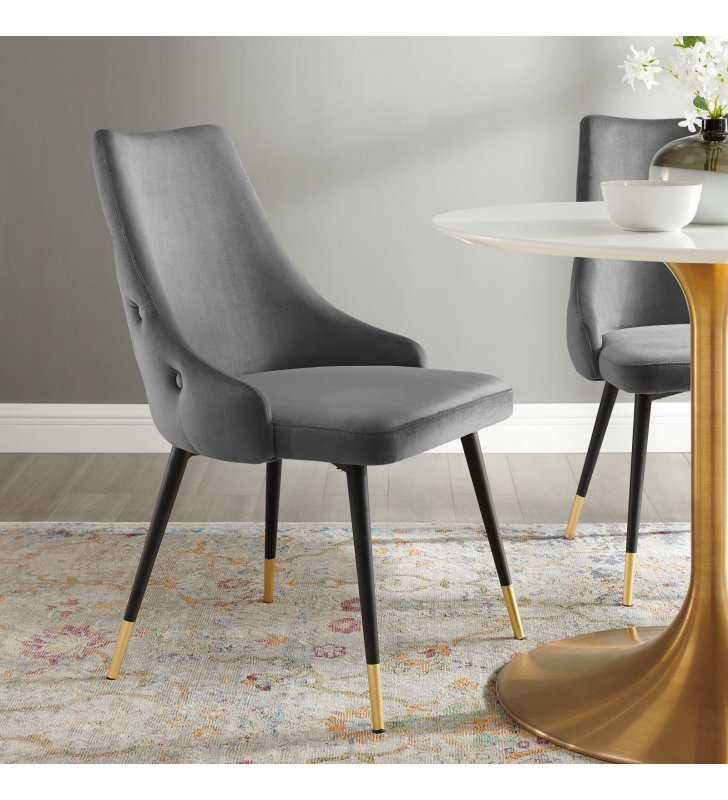 Adorn Tufted Performance Velvet Dining Side Chair in Gray - Lexmod