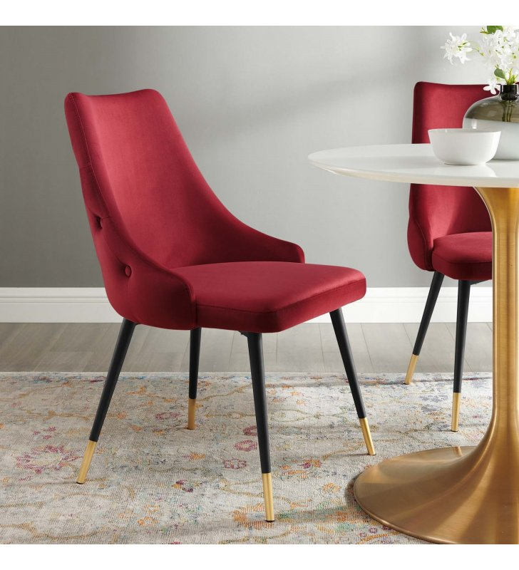 Adorn Tufted Performance Velvet Dining Side Chair in Maroon - Lexmod