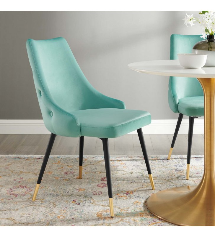 Adorn Tufted Performance Velvet Dining Side Chair in Mint - Lexmod