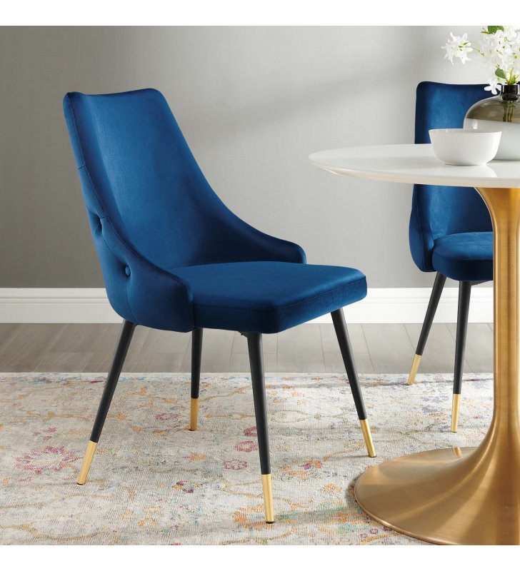 Adorn Tufted Performance Velvet Dining Side Chair in Navy - Lexmod
