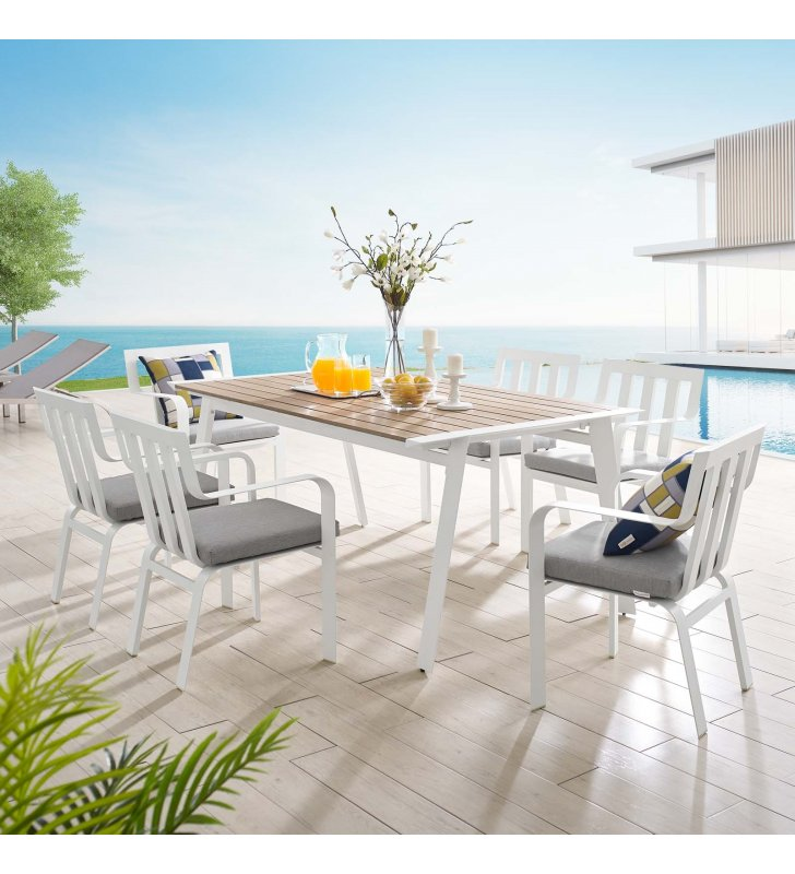 Baxley 7 Piece Outdoor Patio Aluminum Dining Set in White Gray - Lexmod