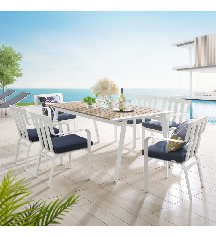 Baxley 7 Piece Outdoor Patio Aluminum Dining Set in White Navy - Lexmod