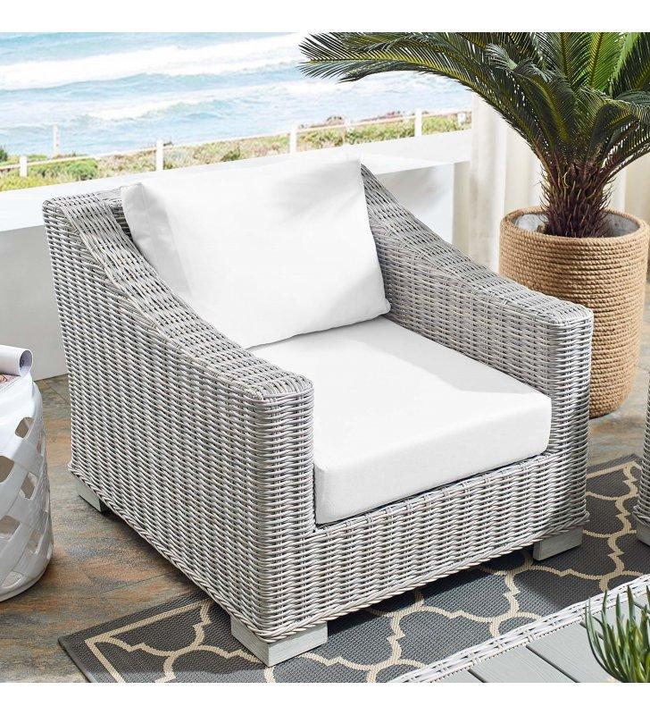 Conway Sunbrella Outdoor Patio Wicker Rattan Armchair in Light Gray White - Lexmod
