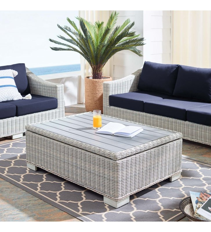 "Conway 45"" Outdoor Patio Wicker Rattan Coffee Table in Light Gray - Lexmod"