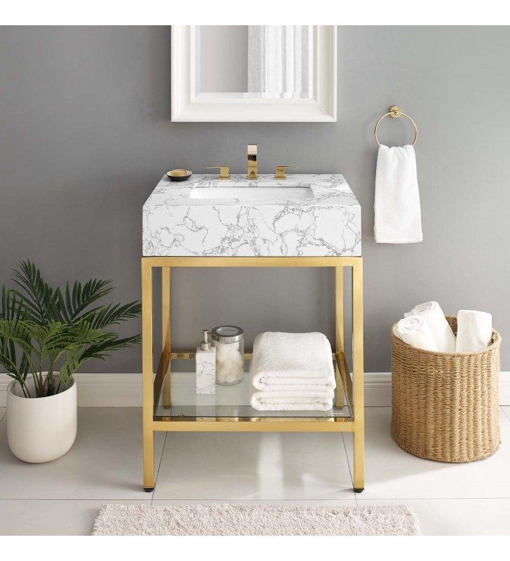 "Kingsley 26"" Gold Stainless Steel Bathroom Vanity in Gold White - Lexmod"