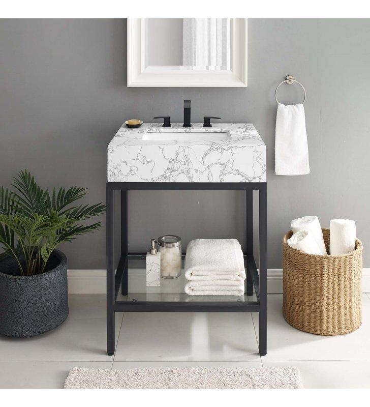 """Kingsley 26"""" Black Stainless Steel Bathroom Vanity in Black White - Lexmod"""