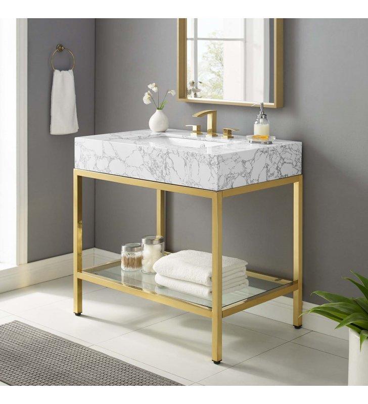 "Kingsley 36"" Gold Stainless Steel Bathroom Vanity in Gold White - Lexmod"
