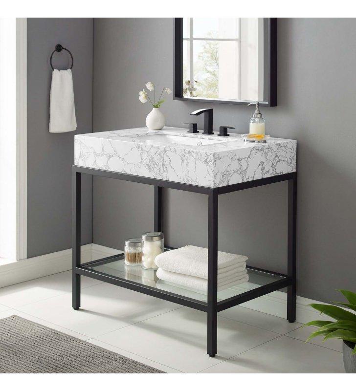 """Kingsley 36"""" Black Stainless Steel Bathroom Vanity in Black White - Lexmod"""