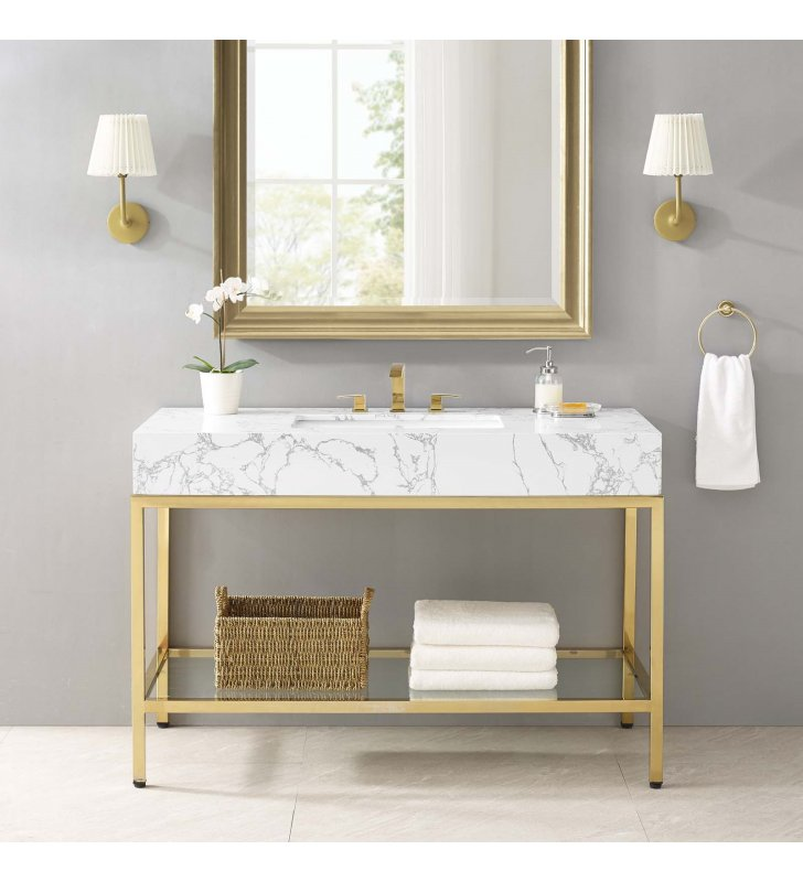 "Kingsley 50"" Gold Stainless Steel Bathroom Vanity in Gold White - Lexmod"