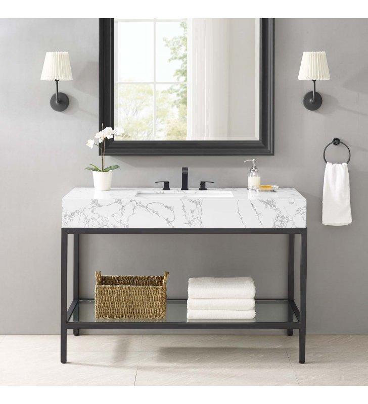 """Kingsley 50"""" Black Stainless Steel Bathroom Vanity in Black White - Lexmod"""