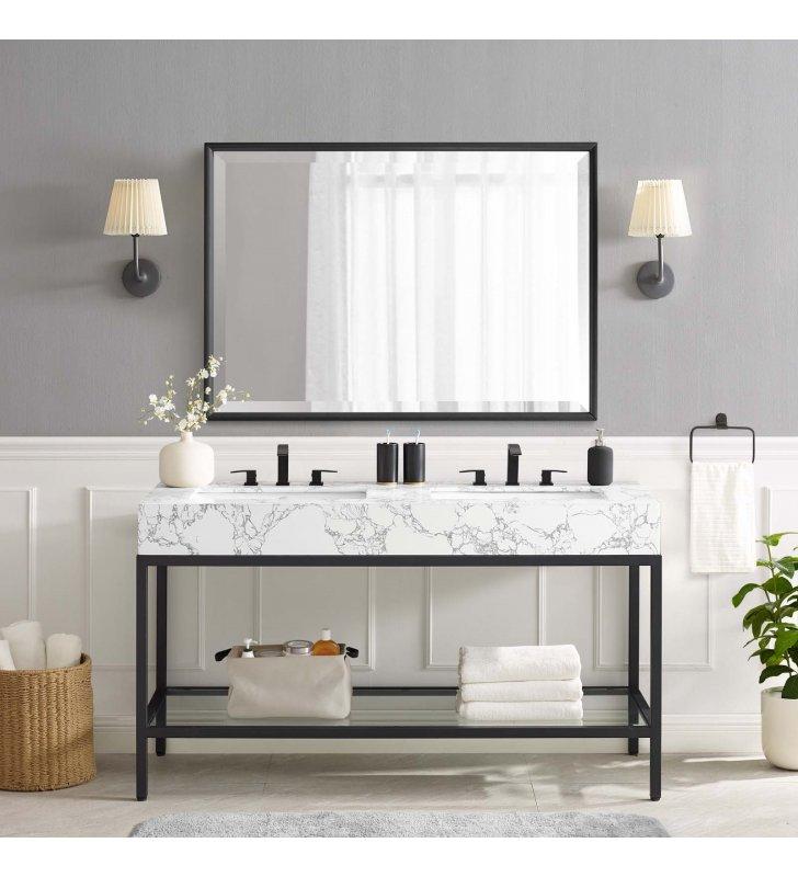 """Kingsley 60"""" Black Stainless Steel Bathroom Vanity in Black White - Lexmod"""