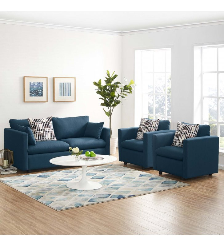 Activate 3 Piece Upholstered Fabric Set in Azure - Lexmod