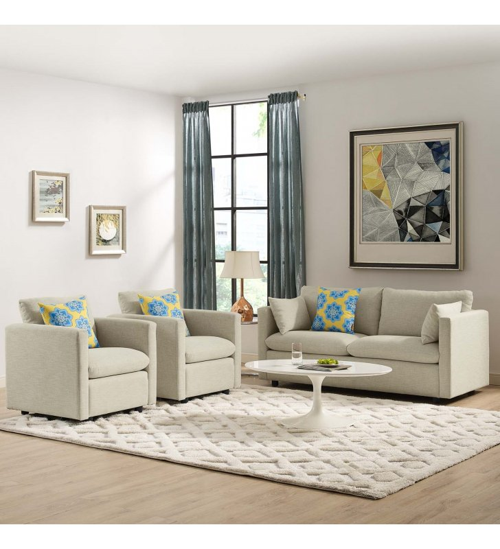 Activate 3 Piece Upholstered Fabric Set in Beige - Lexmod
