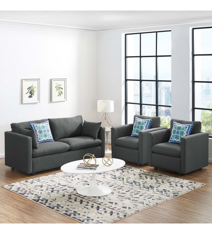 Activate 3 Piece Upholstered Fabric Set in Gray - Lexmod