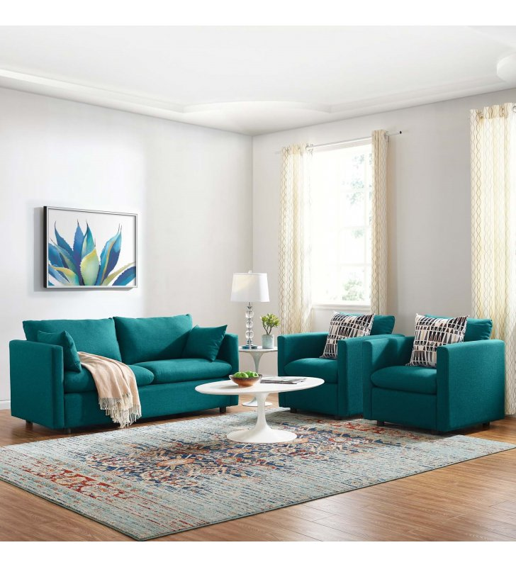 Activate 3 Piece Upholstered Fabric Set in Teal - Lexmod