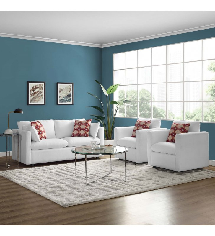 Activate 3 Piece Upholstered Fabric Set in White - Lexmod