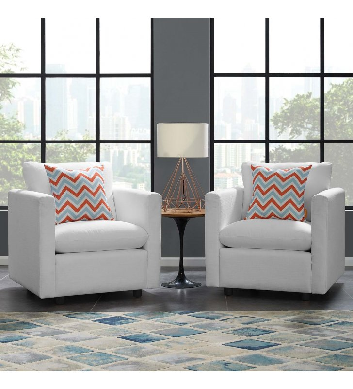 Activate Upholstered Fabric Armchair Set of 2 in White - Lexmod