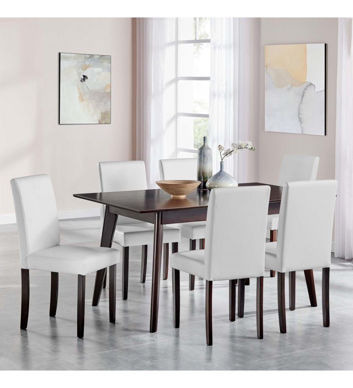 Prosper 7 Piece Faux Leather Dining Set in Cappuccino White - Lexmod