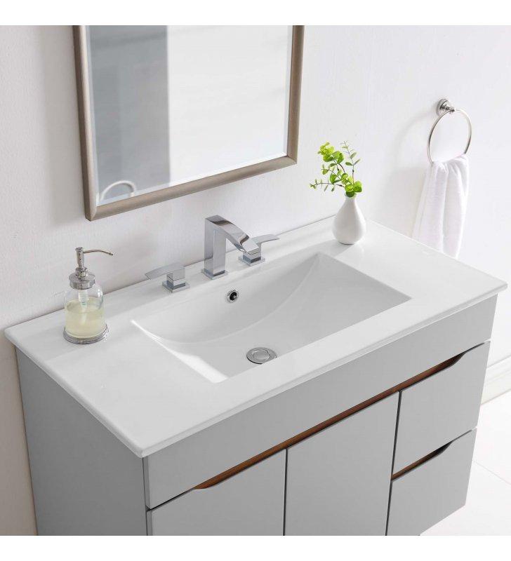"""Cayman 36"""" Bathroom Sink in White - Lexmod"""
