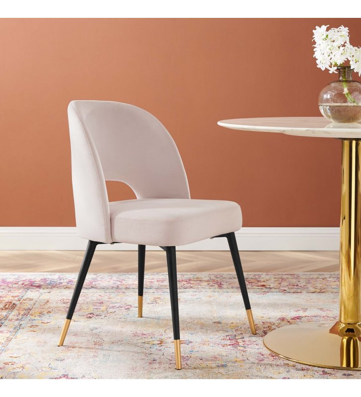 Rouse Performance Velvet Dining Side Chair in Pink - Lexmod