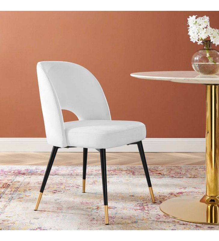 Rouse Performance Velvet Dining Side Chair in White - Lexmod