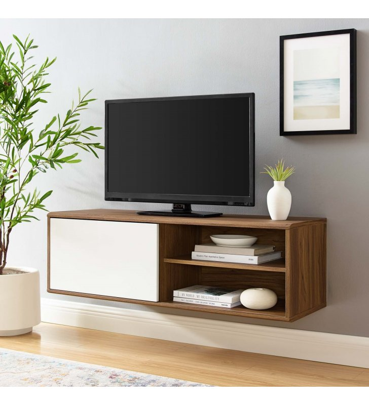 """Envision 46"""" Wall Mount TV Stand in Walnut White - Lexmod"""