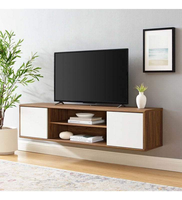 """Envision 60"""" Wall Mount TV Stand in Walnut White - Lexmod"""