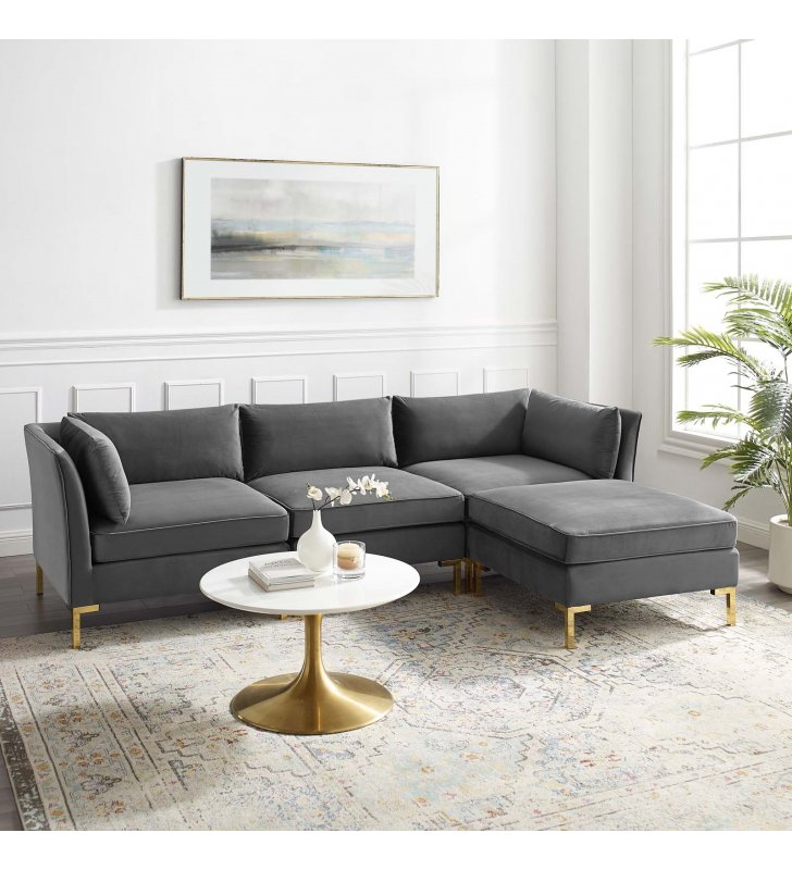Ardent 4-Piece Performance Velvet Sectional Sofa in Gray - Lexmod