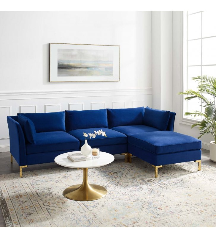 Ardent 4-Piece Performance Velvet Sectional Sofa in Navy - Lexmod