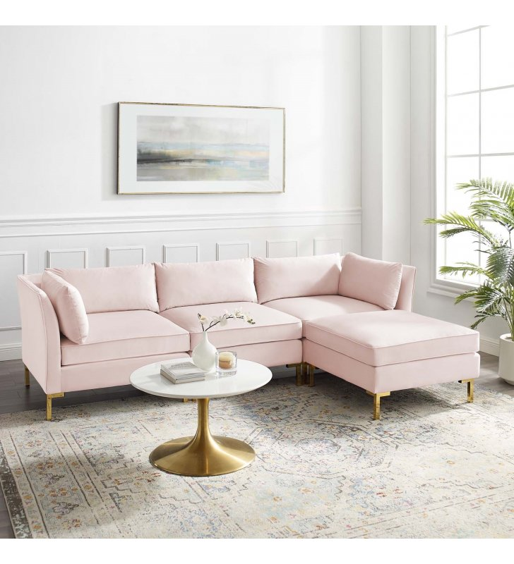 Ardent 4-Piece Performance Velvet Sectional Sofa in Pink - Lexmod