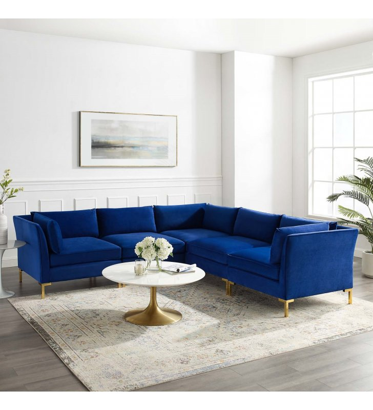 Ardent 5-Piece Performance Velvet Sectional Sofa in Navy - Lexmod
