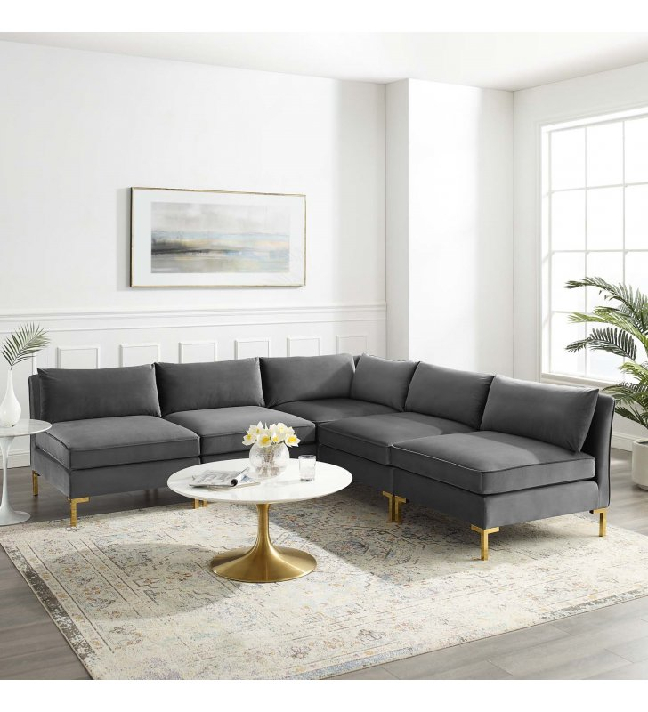 Ardent 5-Piece Performance Velvet Sectional Sofa in Gray - Lexmod