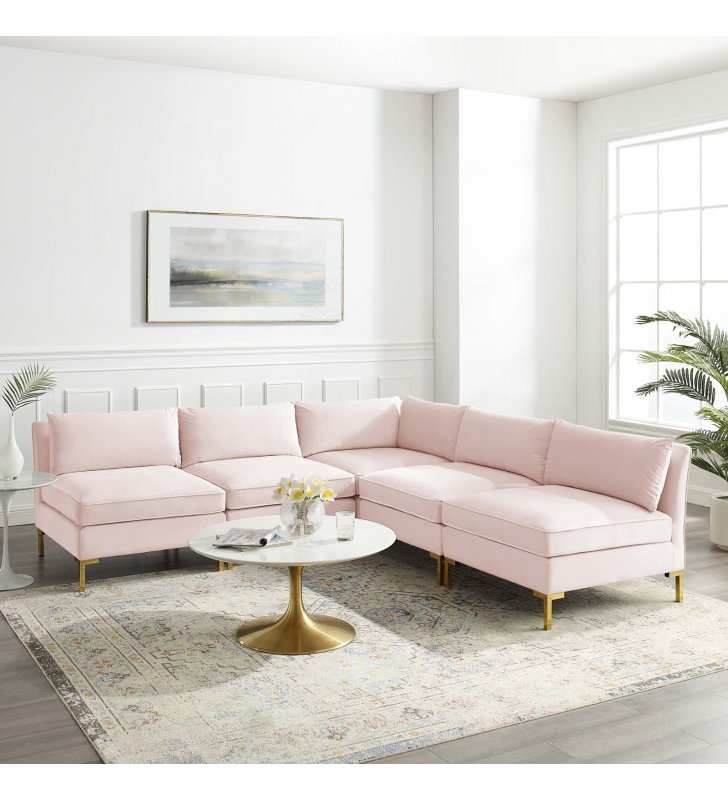 Ardent 5-Piece Performance Velvet Sectional Sofa in Pink - Lexmod