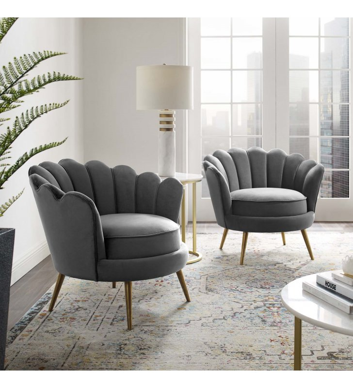 Admire Accent Armchair Performance Velvet Set of 2 in Gray - Lexmod