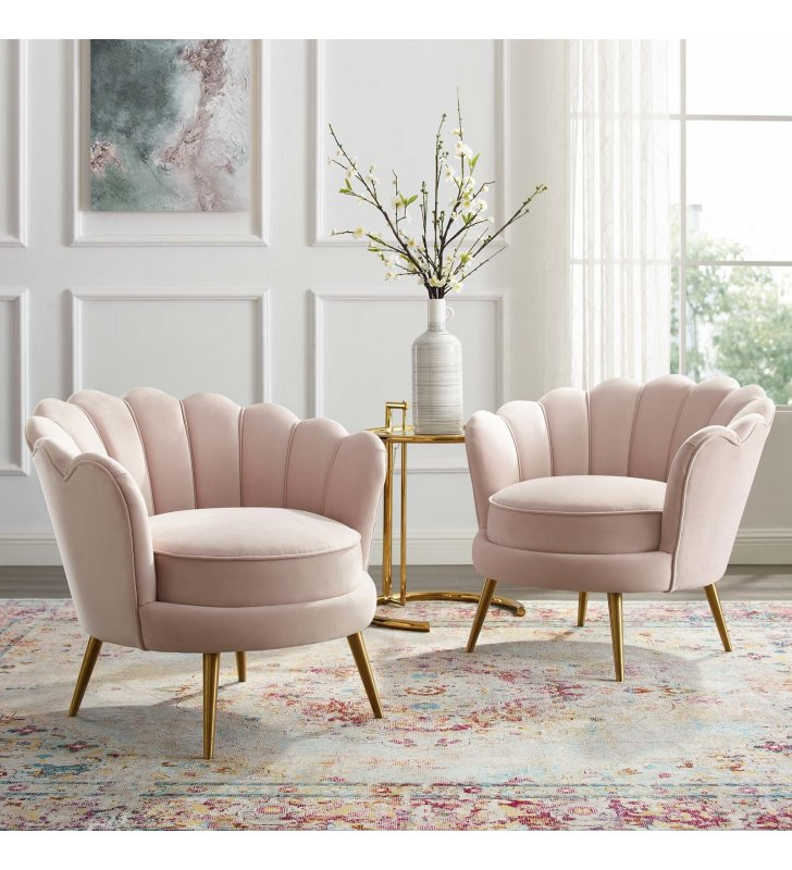 Admire Accent Armchair Performance Velvet Set of 2 in Pink - Lexmod