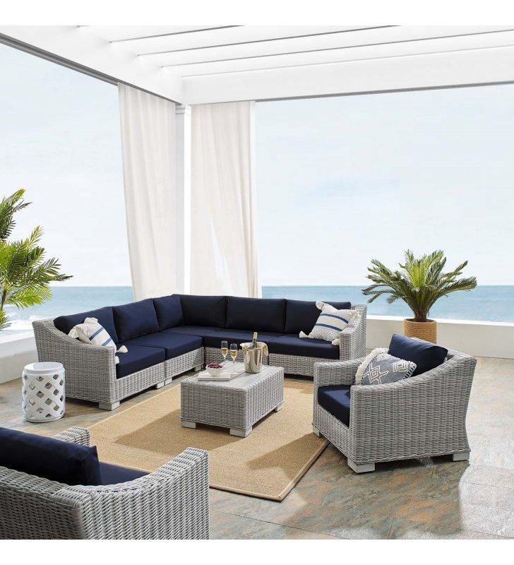 Conway Sunbrella® Outdoor Patio Wicker Rattan 7-Piece Sectional Sofa Set in Light Gray Navy - Lexmod