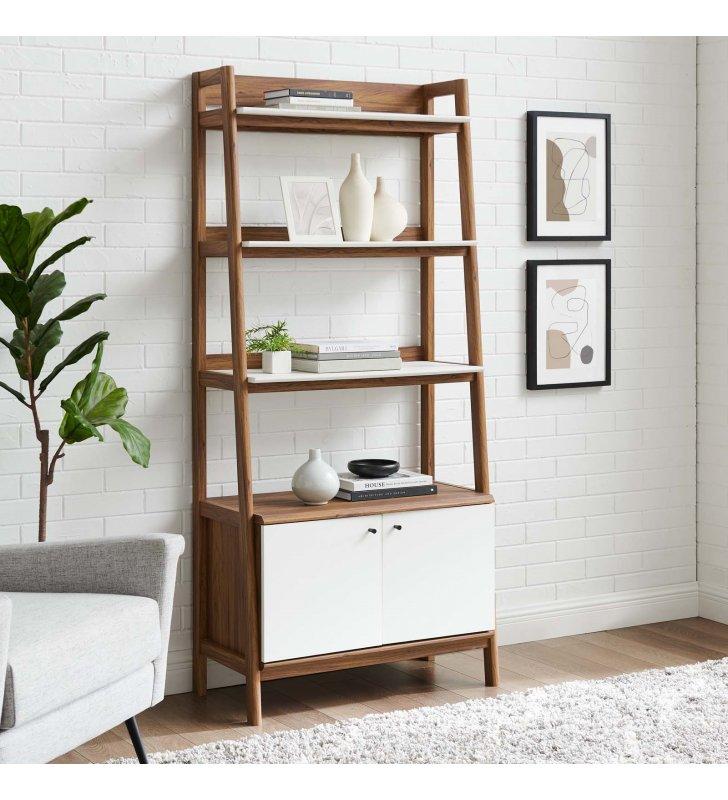 """Bixby 33"""" Bookshelf in Walnut White - Lexmod"""