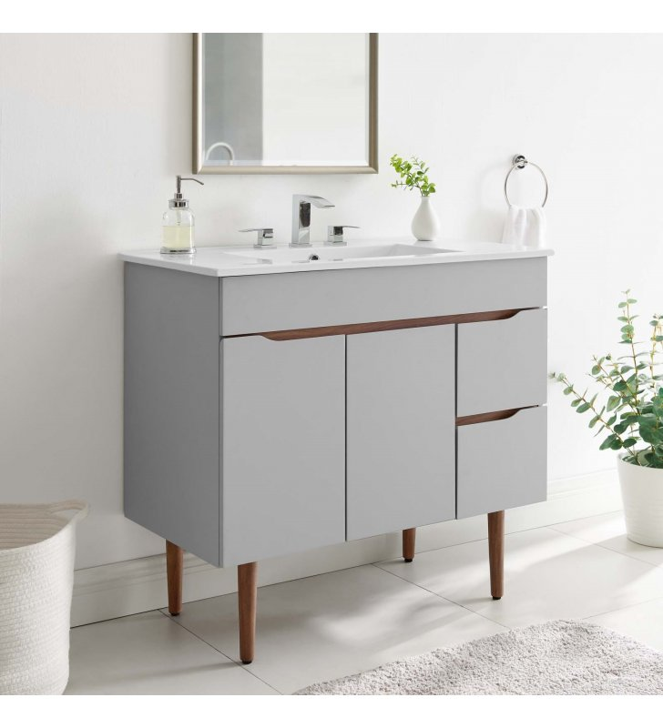 "Harvest 36"" Bathroom Vanity in Gray White - Lexmod"
