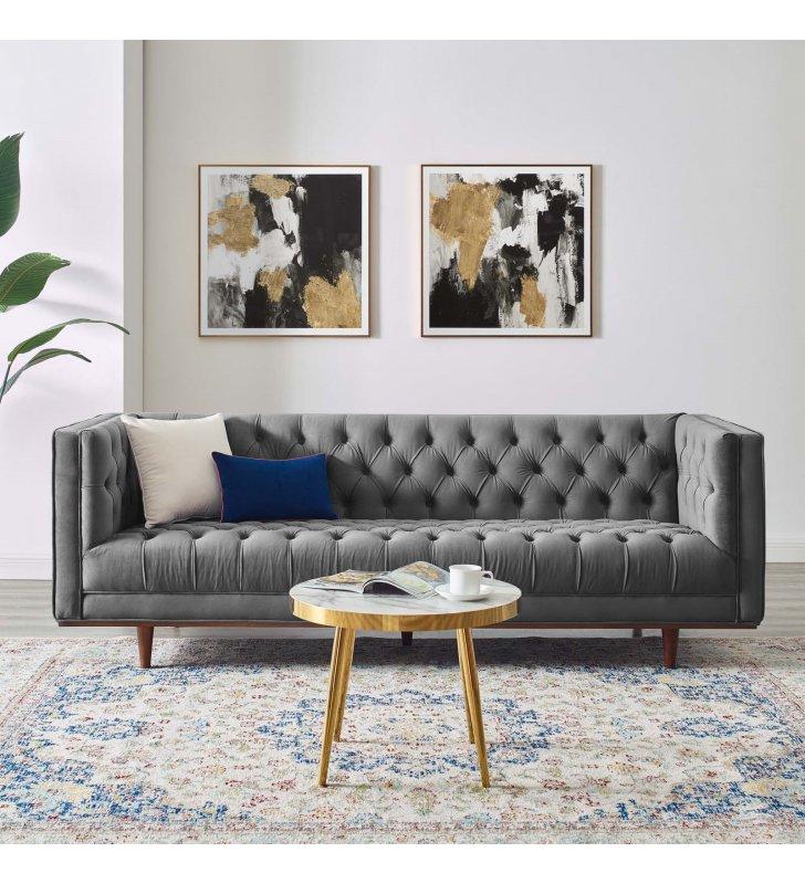 Elation Tufted Performance Velvet Sofa in Gray - Lexmod